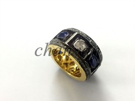 2.50Ct Rose Cut Diamond Silver Sapphire Vintage INS Band Ring CSJUK387 - $8.301,17 MXN