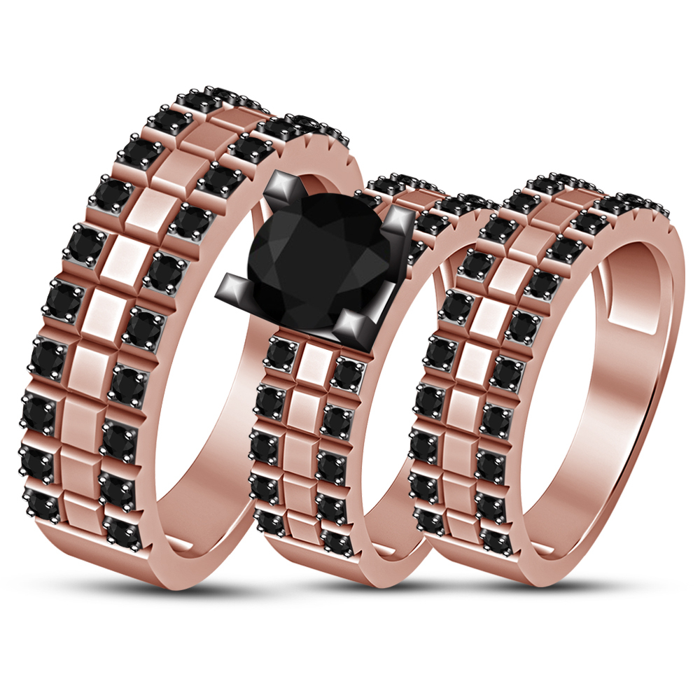 Black Diamond 14K Rose Gold 925 Silver Bridal Engagement Wedding Trio Ring Set