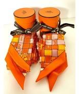 Hermes Twilly Pair Bolduc Silk Scarves Orange - $391.05