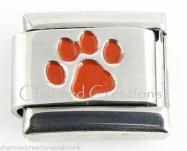 Red Inlay Animal Dog Paw Print 9mm Italian Charm Stainless Steel Modular Link - $7.95
