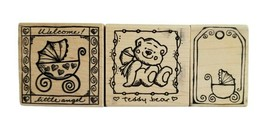 MAGENTA Brand Rubber Stamp 3 Pc Lot Teddy Bear Baby Buggy Welcome Little... - $17.09