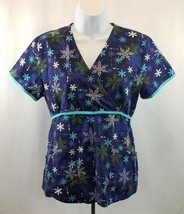 Dickies Women's Scrub Top Blue Snowflakes Winter▪Extra Small (xs) - $5.14
