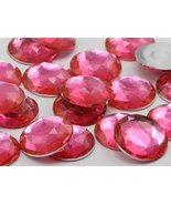 Allstarco 25mm Pink Hot H114 Flat Back Round Acrylic Jewels Pro Grade - ... - $5.83