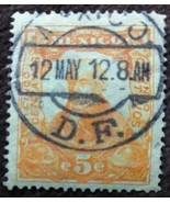 1910 Five Centavos Mexico DF 1912 Cancelled Stamp - $0.99