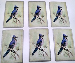 6 Blue Jay Playing Cards for Crafting, Re-purpose, Up-cycle, Vintage Supplies image 1