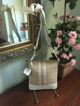 New Coach Crossbody Bag 48001 Legacy Signature Stripe Light Khaki Parchm... - $84.14