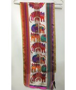 Laurel Burch Multi-Color Cats Felines Long Silk Scarf Beaded 11 x 54 Sun... - $31.85