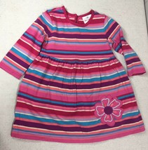 Hanna Andersson Girls Pink Striped 100% Cotton Play Day Dress Sz 80 18-2... - $19.79