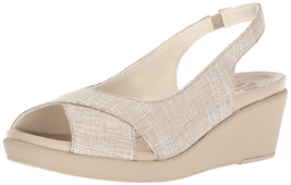 Crocs Women's Leigh-Ann Shimmer Slingback Wedge, Oyster/Cobblestone - Choose SZ - $79.99+