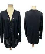 Joan Rivers women's cardigan black open front sequined size L - $19.69