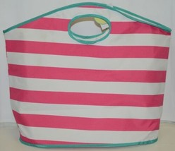 Viv And Lou Large Pink White Striped Beach Tote Bag Polyester image 1