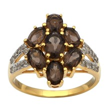Smoky Quartz 925 Silver Cubic Zirconia Yellow Plating Cluster Floral Des... - $17.64