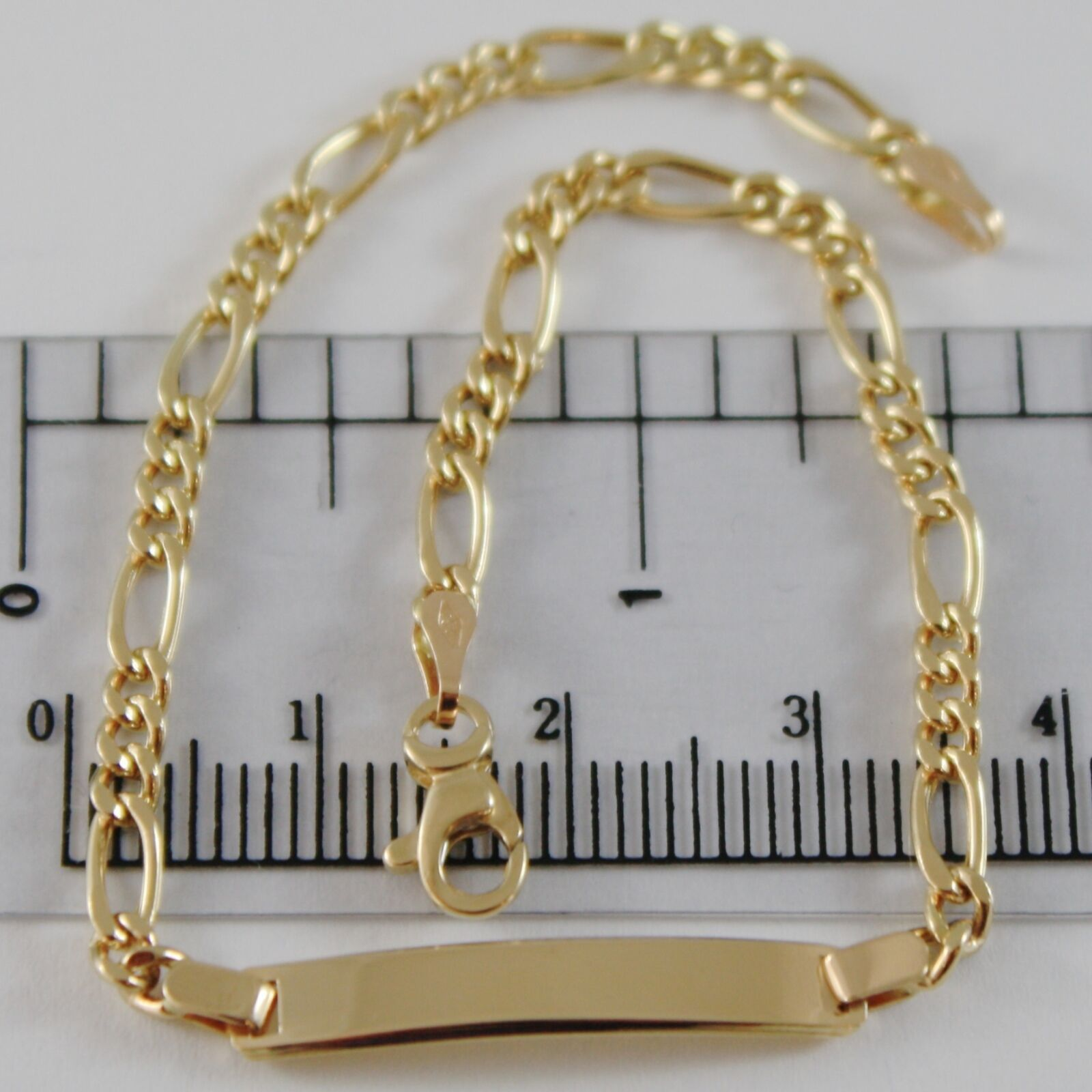 18K YELLOW GOLD BRACELET CLASSIC ALTERNATE GOURMETTE WITH PLATE, MADE IN ITALY