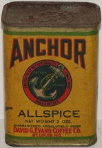 Vintage spice tin ANCHOR Allspice with picture David G Evans Coffee Co S... - $19.99