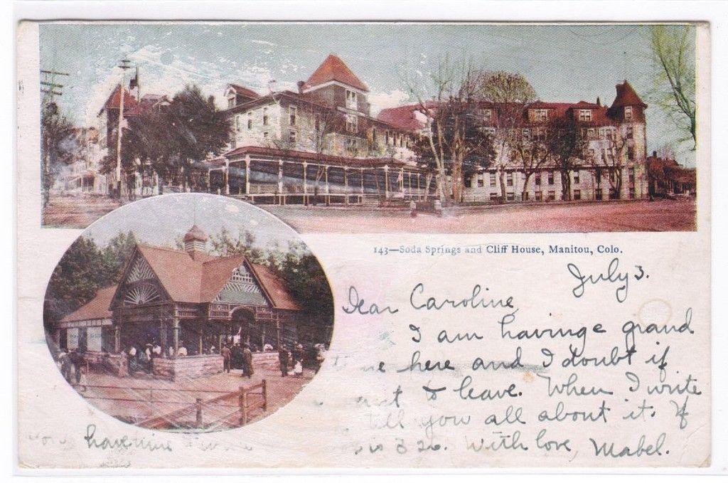 Soda Springs Cliff House Manitou Colorado 1905 postcard