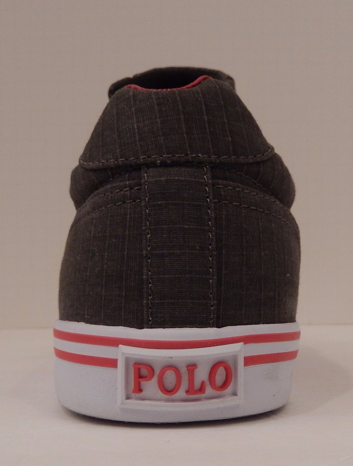 POLO RALPH LAUREN MENS SIZE 14 D GRAY RED RIPSTOP CANVAS FASHION SNEAKER HANFORD