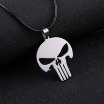 Silver Superhero Movie Army Military Punishment Punisher Skull Necklace - $50.00