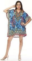 Short Digital Decorative Flower Kaftan~Beach Top~Free Size Hippy Caftan Dress - $8.59
