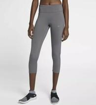Nike Débardeur de Course Jabot Leggings XS Gris Maille Capri Pantalon 890365 036 - $31.45