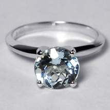 Natural Aquamarine Solitaire Promise Ring 14K White Gold Womens 2.86CT 4... - $599.00
