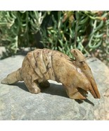 Soap Stone Carved Armadillo Figurine Brown Handmade Soapstone Spirit Ani... - $32.71