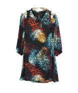 Worthington Womens Dress Cold Shoulder Size 8 Black Blue Hawaiian Palm F... - $42.04