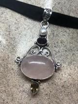 Vintage Rose Quartz Garnet Pearl Choker Necklace Pendant image 2