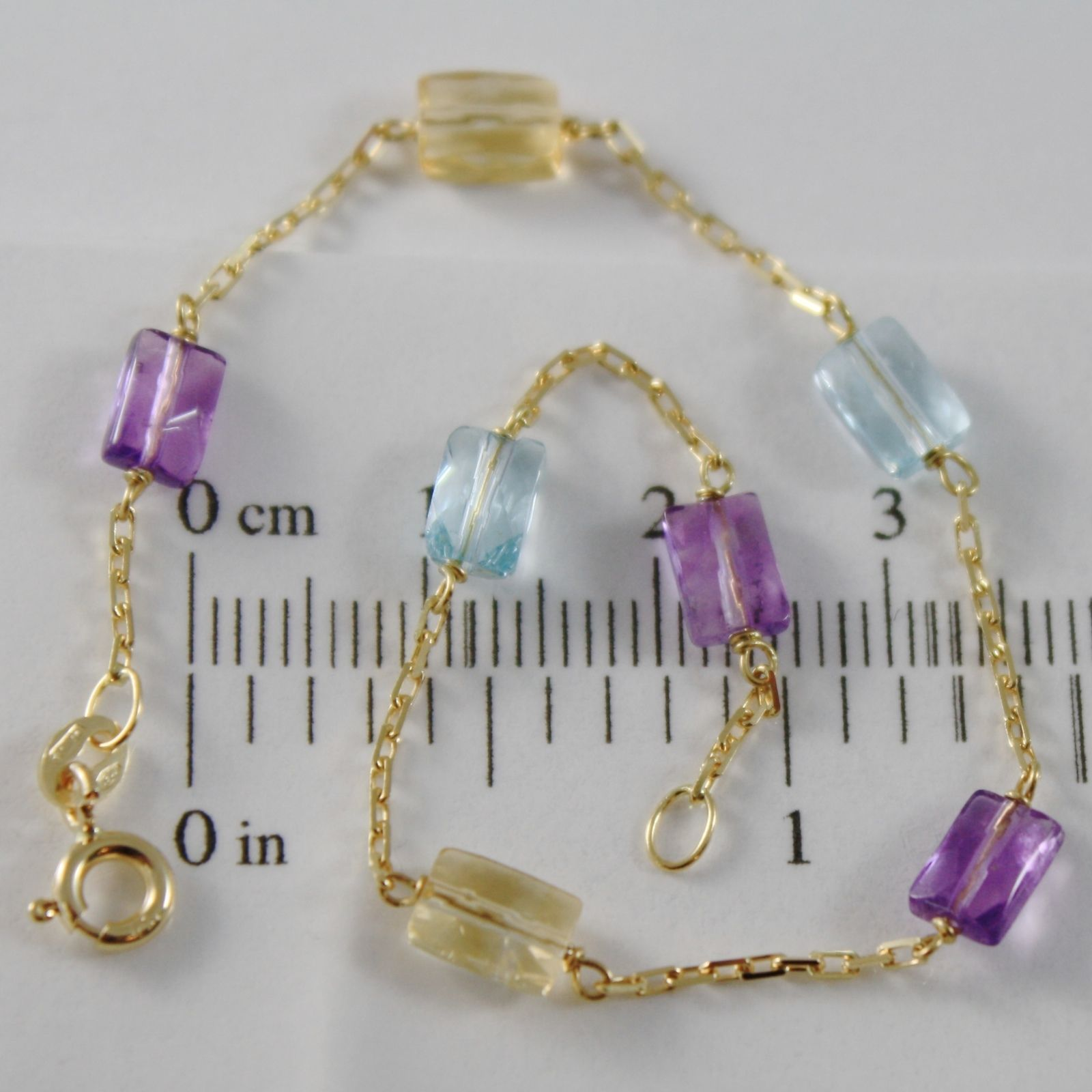 18K YELLOW GOLD BRACELET SQUARED CHAIN AMETHYST CITRINE BLUE TOPAZ MADE IN ITALY