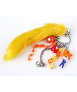 Fruits Basket Kyo Bag Charm, Beaded Bag Charm, Fox Tail, Orange, Red, St... - $33.00