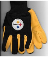 Pittsburg Steelers team Sport Utility Gloves yellow blk garden NFL Footb... - $17.77