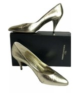 """Roberto Nogueron Gold Shoes Pumps Woman's Size 10 AA 3"""" High Heels Italy - $15.09"""
