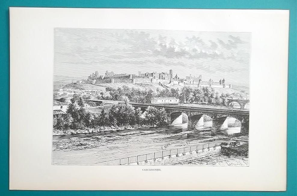 FRANCE Medieval City Carcassonne - 1890s Antique Print