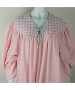 Vintage Vanity Fair XL Robe Housecoat Pink Velour 3/4 Sleeve 3/4 Zip Emb... - $59.35