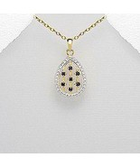 Vermeil gold necklace with black sapphire and tiny white diamonds - $29.95