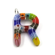 "LETTER R PENDANT MURANO GLASS MULTI COLOR MURRINE 2.5cm 1"" INITIAL MADE IN ITALY image 1"