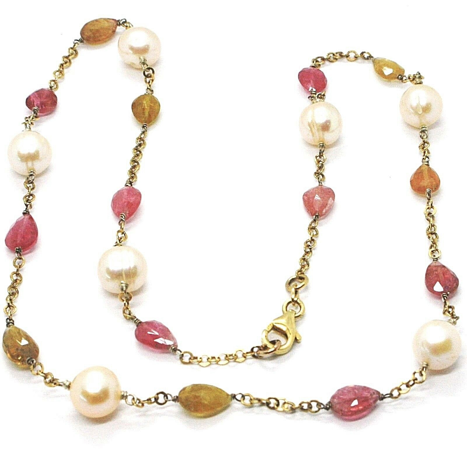 Silver 925 Necklace, Yellow, Tourmaline Drop, Pearls round, Chain Rolo '