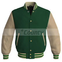 Letterman College Baseball Bomber Jacket Sports Forest Green Cream Ivory... - $49.98+