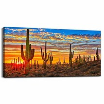 Canvas Wall Art for Living Room Cactus Plant Landscape Painting Bathroom... - $108.22