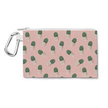 Cute Potted Cactus On Pink Canvas Zip Pouch - $15.99+