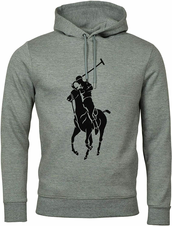 POLO RALPH LAUREN Men's BIG Pony GRAPHIC Double Knit TECH Hoodie NEW GREY M L  - $118.99