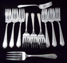 Vintage Columbine Revere Pattern Silverplate Individual Dessert/Salad Forks - $131.99