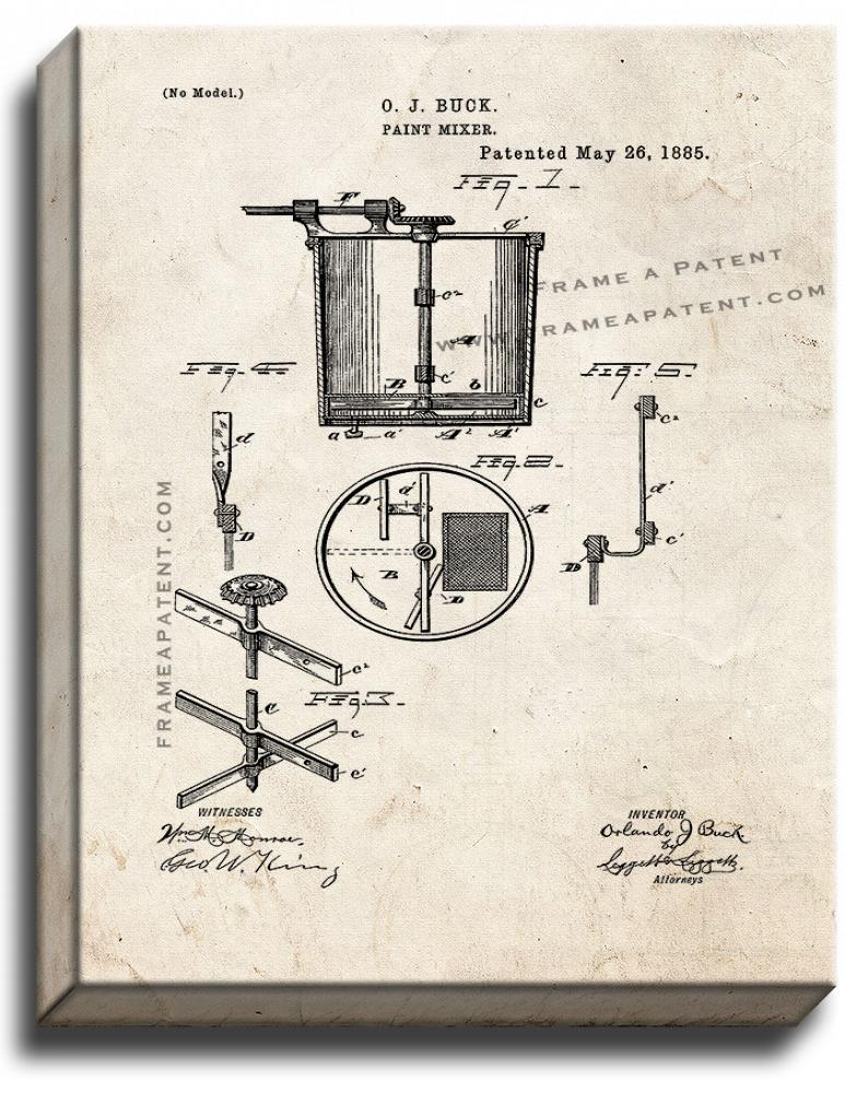 Primary image for Paint Mixer Patent Print Old Look on Canvas