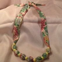 NECKLACE, HAND CRAFTED FABRIC/BEADS CREAM BACKGROUND SHADES OF PINK GREE... - $4.88