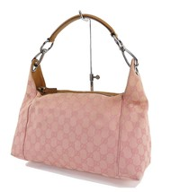 Authentic GUCCI Pink GG Canvas and Leather Tote Hand Bag Purse #31799 - $195.00