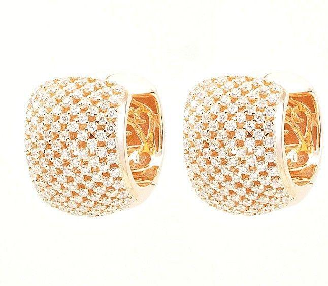 ZirconZ Custom-Pave Signity CZ Sterling Silver Wide Mesh Hoop Huggie Earrings - $149.99