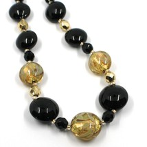 """NECKLACE BLACK YELLOW MURANO GLASS DISC & GOLD LEAF, MADE IN ITALY, 50cm, 20"""" image 2"""