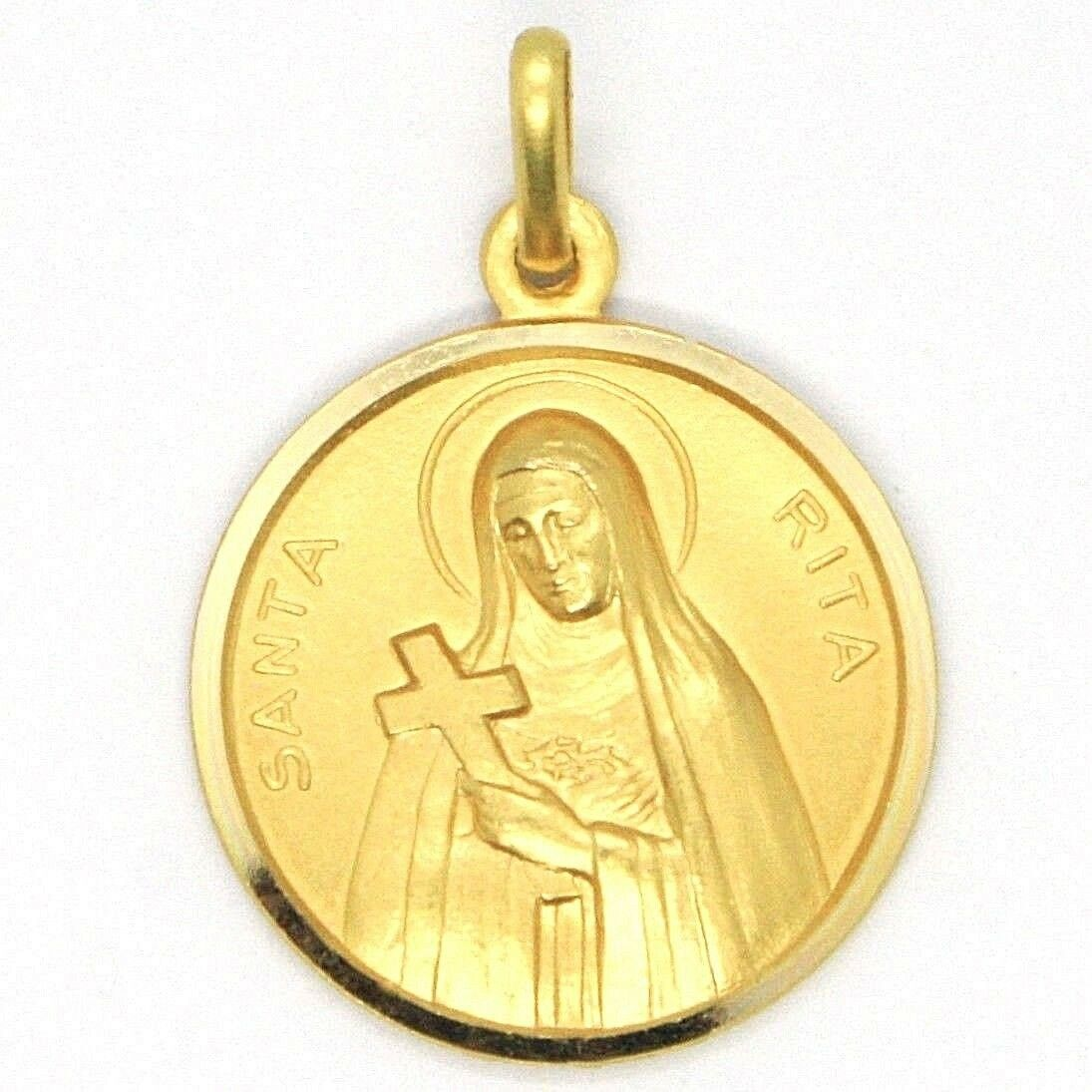 SOLID 18K YELLOW GOLD HOLY ST SAINT SANTA RITA ROUND MEDAL MADE IN ITALY, 17 MM
