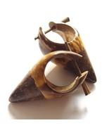 WOODEN SPIKE PUNK EMO EARRINGS TWO TONE REAL COCO SHELL NUT COCONUT EAR ... - $10.71