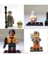 4 Set BB-8 Rey Poe Dameron Finn Star Wars Minifigures +Stands The Force ... - $17.00