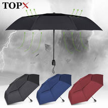TopX® Big Umbrella For Men Double Layer 3 Folding Wind Resistance Automatic - $24.91